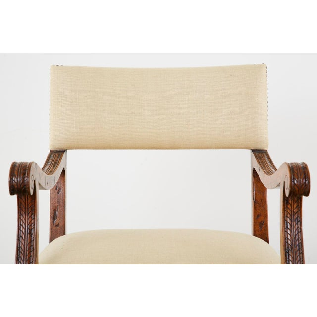 English Gothic Revival Wainscot Style Carved Hall Chair For Sale - Image 11 of 13