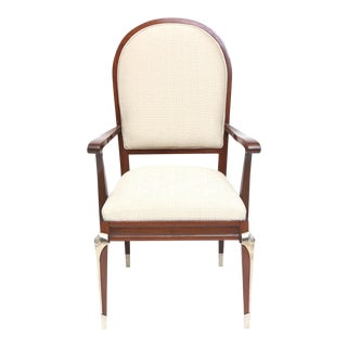 Set of Eight Jean Pascaud Mahogany and Silvered Bronze-Mounted Dining Chairs For Sale