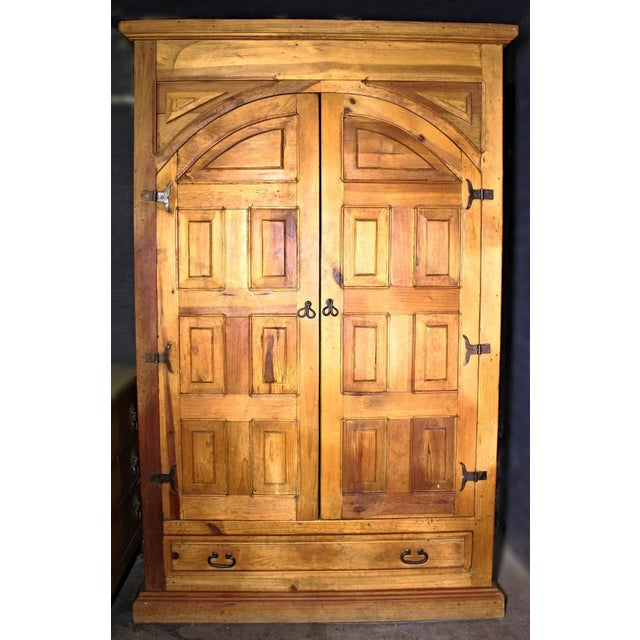 Antique Iron Hardware & Pine Armoire - Image 4 of 10