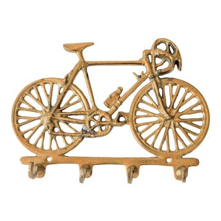 Vintage Brass Bicycle Wall Key Holder For Sale