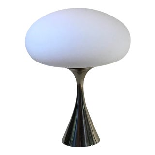 "1960s Laurel ""Mushroom"" Vintage Chrome Steel with Bright White Glass Shade Table Lamp For Sale"