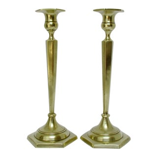 Sand Cast Brass-Plated Candlesticks, a Pair For Sale