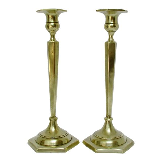 Sand Cast Brass-Plated Candlesticks, a Pair