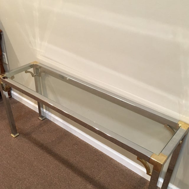1970s Mastercraft Chrome and Brass Console Table For Sale - Image 5 of 9