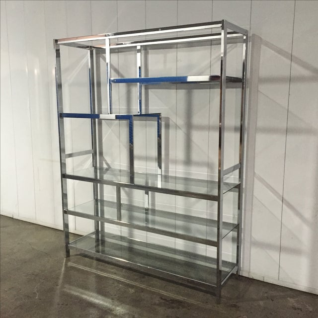 Mid-Century Modern Milo Baughman for Dia Chrome & Glass Etagere For Sale - Image 3 of 6