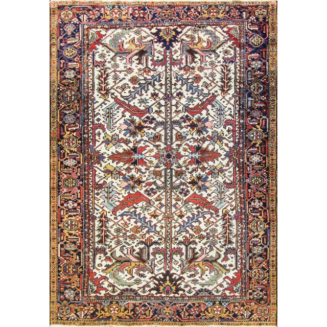 White Antique Heriz Tree of Life Rug For Sale - Image 8 of 8