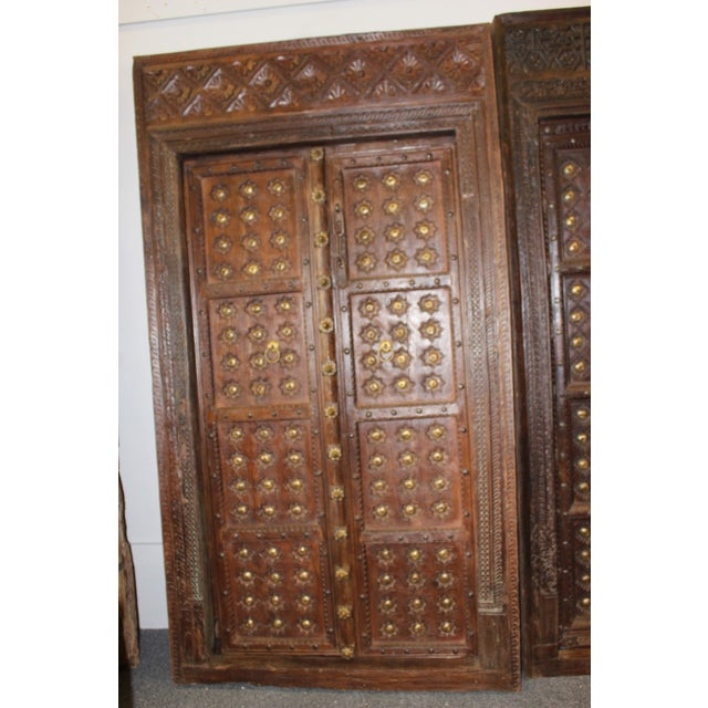 Art Nouveau Antique Indian Architectural Earthy Hand Carved Double Doors  For Sale - Image 3 of - Antique Indian Architectural Earthy Hand Carved Double Doors Chairish