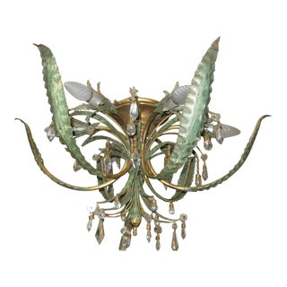 "1950's Mid Century ""Pineapple"" Form Gilt Iron & Tole Ceiling Flush Mount Fixture by Maison Bagues Paris Model #T 088 For Sale"