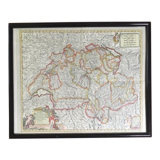 Framed Vintage Map of Switzerland For Sale