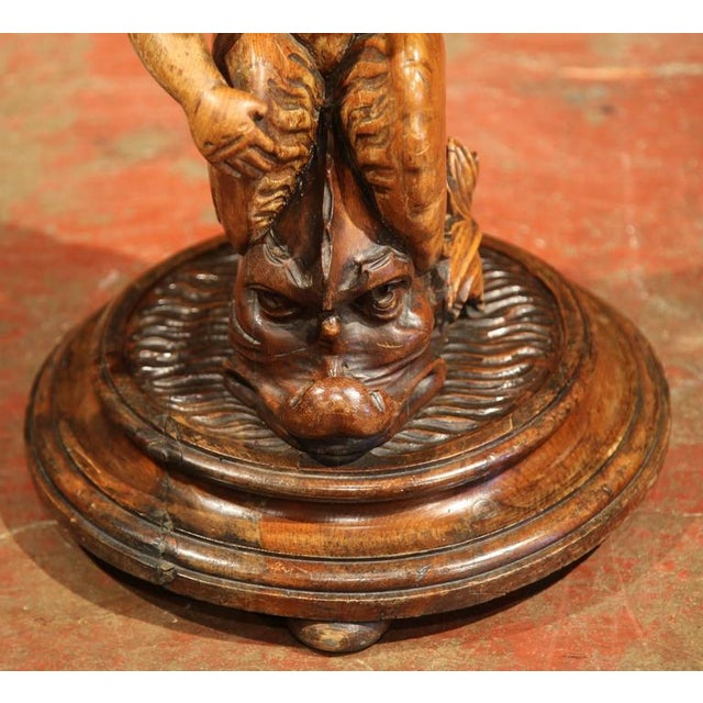 Italian 19th Century Italian Carved Walnut Seated Cherub Tree Base Selette For Sale - Image 3 of 9