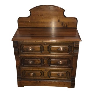 1800s Early American Bedroom Chest With Backsplash For Sale