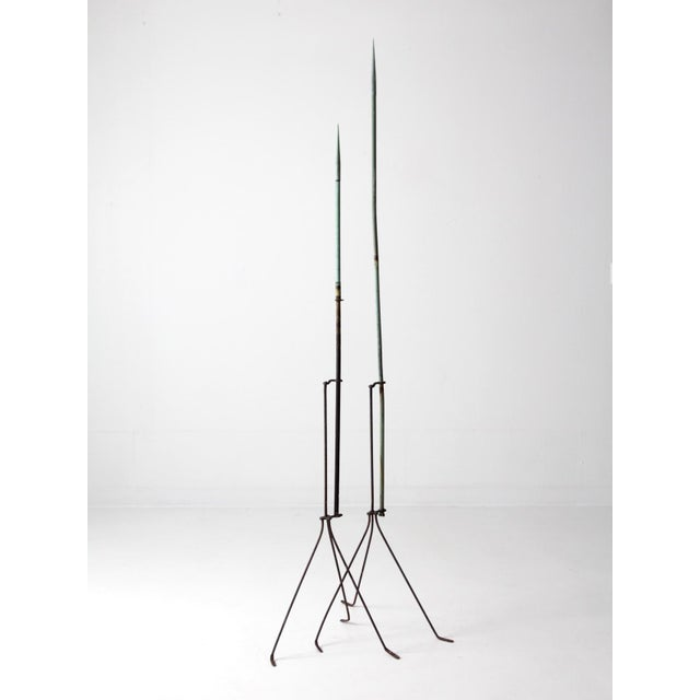 Metal Antique Lightning Rods - A Pair For Sale - Image 7 of 8