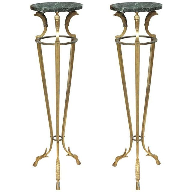 Pair of Maison Jansen Bronze and Marble Pedestals For Sale - Image 9 of 9