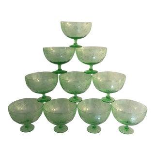 1920's Vintage Fostoria Green Leaf Glasses - Set of 10 For Sale
