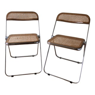 Giancarlo Piretti Pila Mid Century Cane Folding Chairs - a Pair For Sale