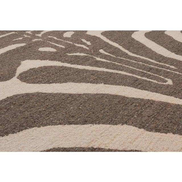 Contemporary Zebra Design Brocade Weave Area Rug - 6′ × 9′ For Sale - Image 3 of 7