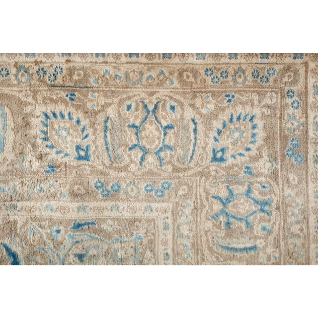 Textile Persian Cream & Blue Rug - 9′8″ × 12′6″ For Sale - Image 7 of 10