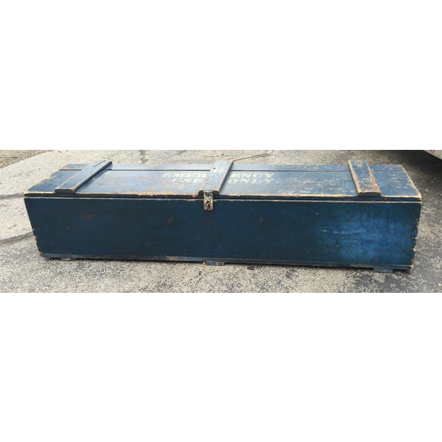 """Blue """"For Emergency Only"""" Stenciled Wood Trunk - Image 2 of 5"""