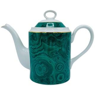 1970s Neiman Marcus Malachite Porcelain Teapot For Sale