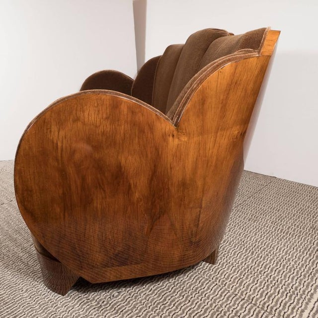 "Gorgeous Art Deco ""Cloud"" Series Sofa in Bookmatched Walnut and Chestnut Mohair For Sale - Image 4 of 9"