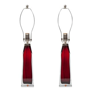Orrefors Crystal Lamps - A Pair For Sale
