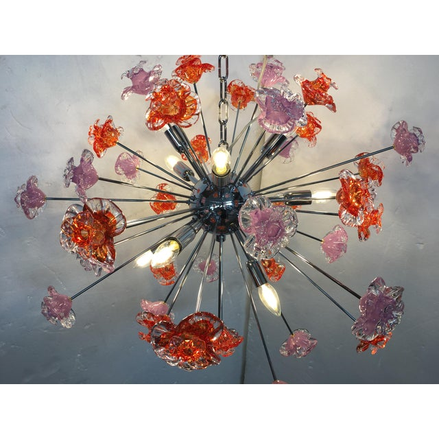 Red Contemporary Murano Glass Flowers Sputnik Chandelier For Sale - Image 8 of 12