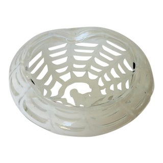 Barovier Italian Murano Opalescent White Spider Bowl For Sale