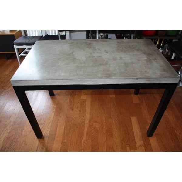 Crate Barrel Parsons Concrete Topdark Steel Base Dining Table