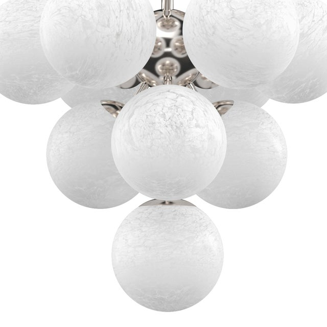 Traditional La Dame Chandelier in Swirl Glass Polished Nickel For Sale - Image 3 of 7