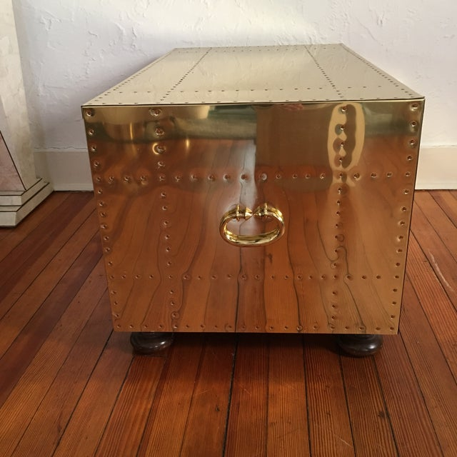 Sarreid LTD Brass 2 Drawer Trunk or Coffee Table For Sale - Image 9 of 11