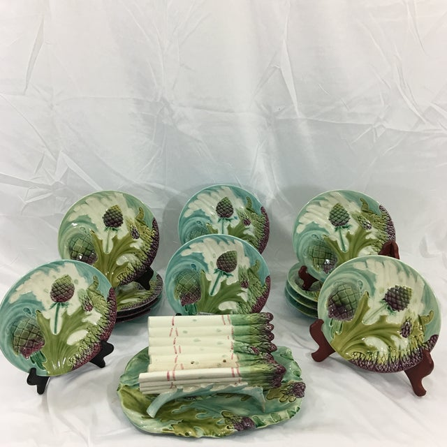 Late 19th Century Asparagus and Artichoke Plates With Serving Platter - Set of 12 For Sale - Image 5 of 5