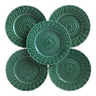 Bordallo Pinheiro Majolica Basketweave Salad Plates - Set of 5
