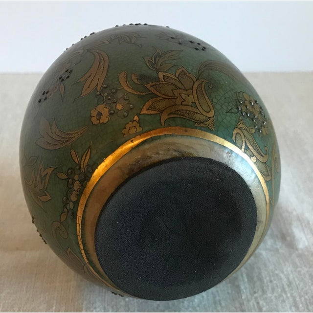 Paint Green & Gold Egg With Floral Raised Details For Sale - Image 7 of 9