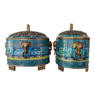 Pair of Large Chinese Cloisonné Oval Censers With Brass Elephant Handles, 1960s For Sale