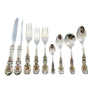 Francis I Reed & Barton Enameled Sterling Silver Flatware Set Service - 119 Pcs For Sale