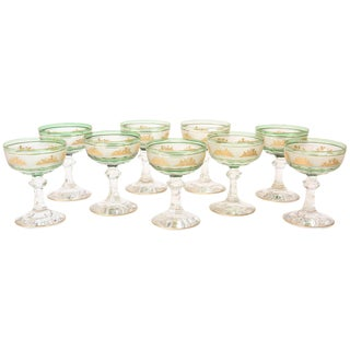 Nine Val Saint Lambert Green and Gilded Cameo Figure Champagne Coupes For Sale