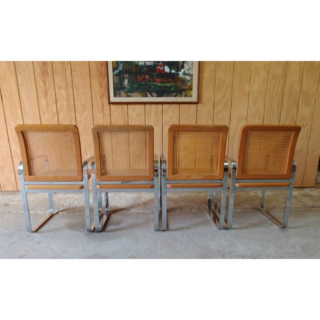 Mid-Century Modern Vintage Modern Berkey Flat Chrome and Cane Dining Chairs - Set of 4 For Sale - Image 3 of 13