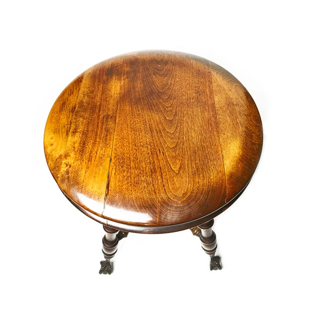 Adjustable Claw Foot Oak Piano Stool - Image 3 of 6
