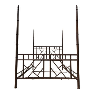 1980s Chinese Chippendale Faux Bamboo Metal Queen Size Bedframe For Sale