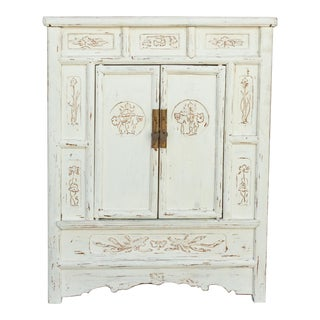 Antique White Carved Lianhua Cabinet For Sale