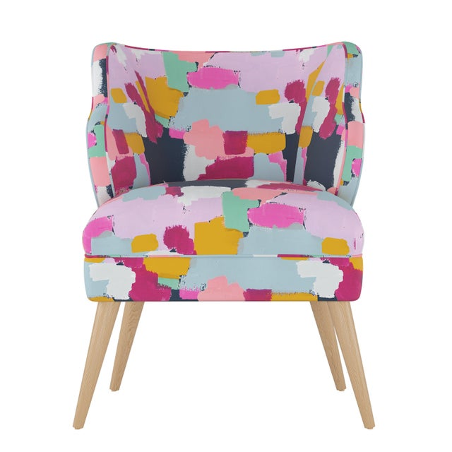 Textile Modern Chair in Joyful Navy Oga For Sale - Image 7 of 7