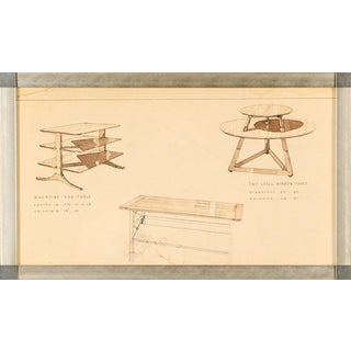 Edward Wormley (American, 1907-1995) Rare Drawing of Furniture Designs for Dunbar For Sale