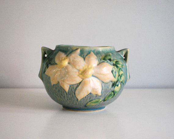 1940s Roseville Pottery Clematis Jardiniere Planter Chairish