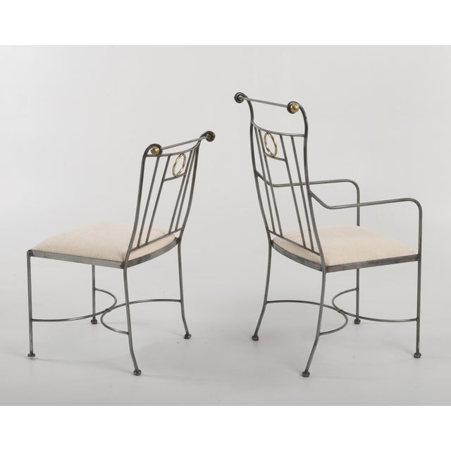 Gray 1970s Italian Mid-Century Steel Brass Dining Chairs - Set of 8 For Sale - Image 8 of 13