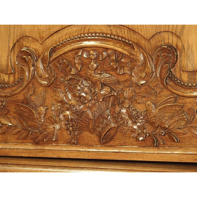 Carved Oak Wedding Cabinet and Chest of Drawers From Normandy, Early 1900s For Sale - Image 12 of 13