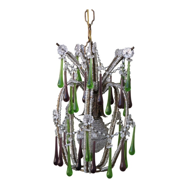 Pineapple Green & Purple Drop Chandelier - Image 1 of 9