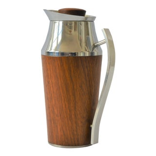 Mid-Century Teak & Chrome Thermal Carafe