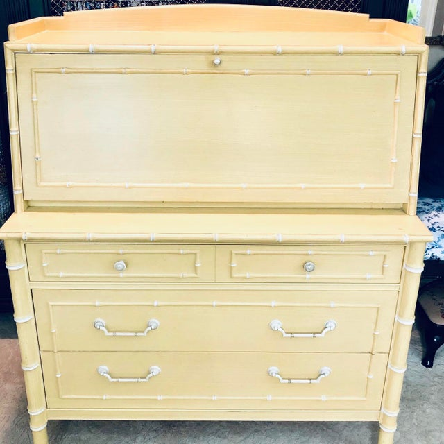 Faux Bamboo Thomasville Faux Bamboo Drop Down Secretary Desk For Sale - Image 7 of 7