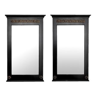 Empire Style Ebonized Mirrors with Brass Mounts - A Pair