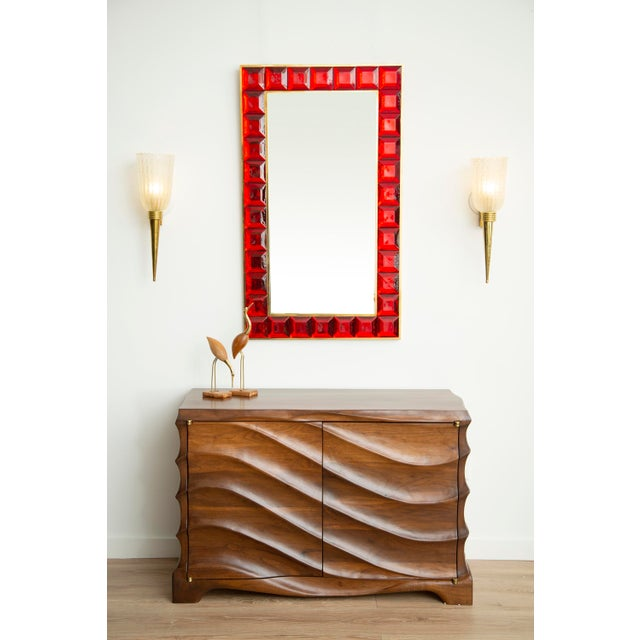 Contemporary red diamond cut Murano glass mirror (2 available), in stock Vivid and intense red glass block with naturally...
